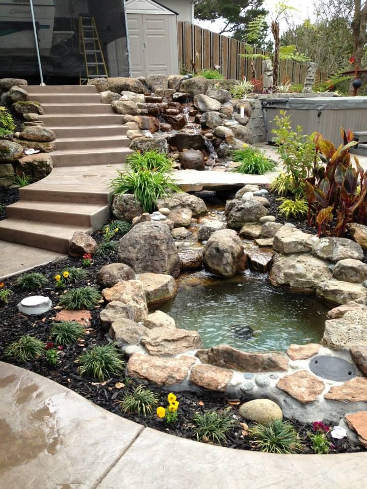 first year garden after hardscape custom waterfall and pond - fuentes de cascada