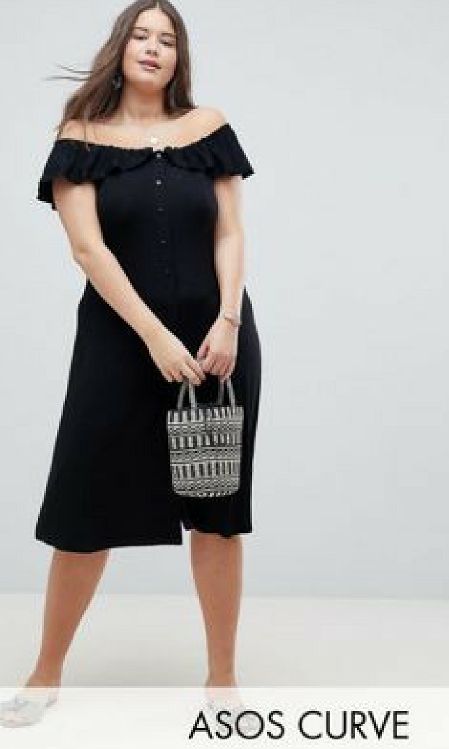 1c695ba30e8 ASOS DESIGN Curve off shoulder button through midi sundress affiliate link
