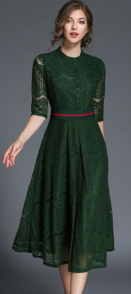 d4a0e2a91f4 Elegant Lace Belt Half Sleeve Skater Dress (Incredible color!! and I like  the detailing)