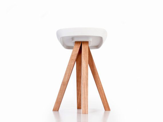 Stool   Side Table   Pedestal Table   White Concrete Cast   Oiled Solid  Wood
