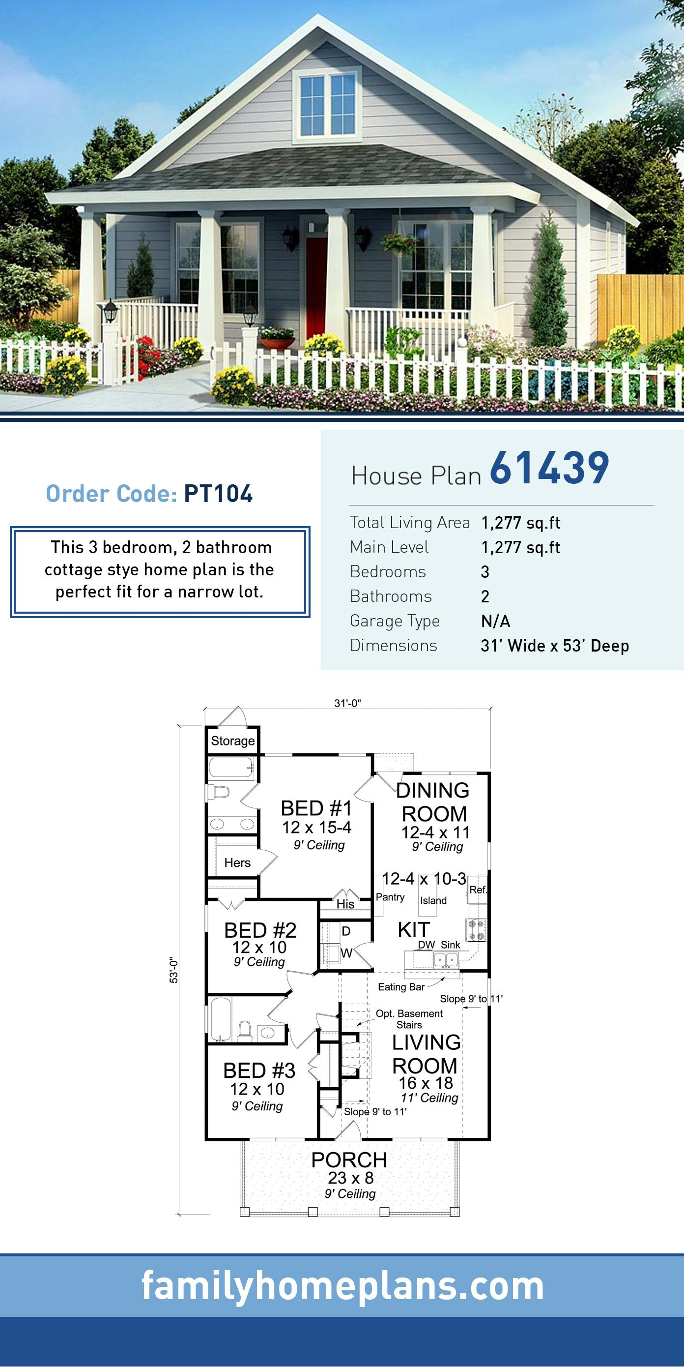 Traditional Style House Plan 61439 With 3 Bed 2 Bath Family House Plans Narrow Lot House Plans Cottage Floor Plans