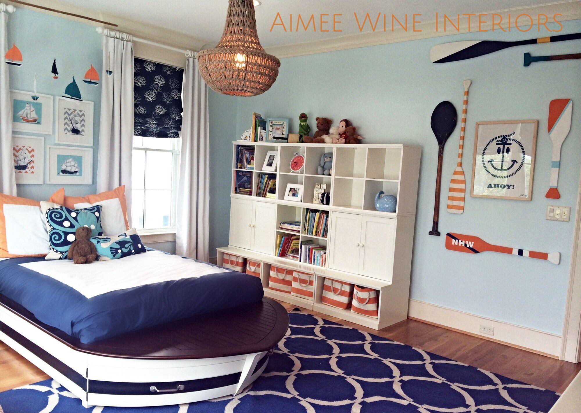 nautical boys room boat bed navy orange aqua and rope accents nautical boys room boat bed navy orange aqua and rope accents