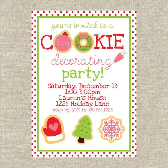 Christmas Cookie Decorating Party Invitation Pdf By 5foot12studio Cookie Decorating Party Christmas Cookies Decorated Christmas Cookie Party