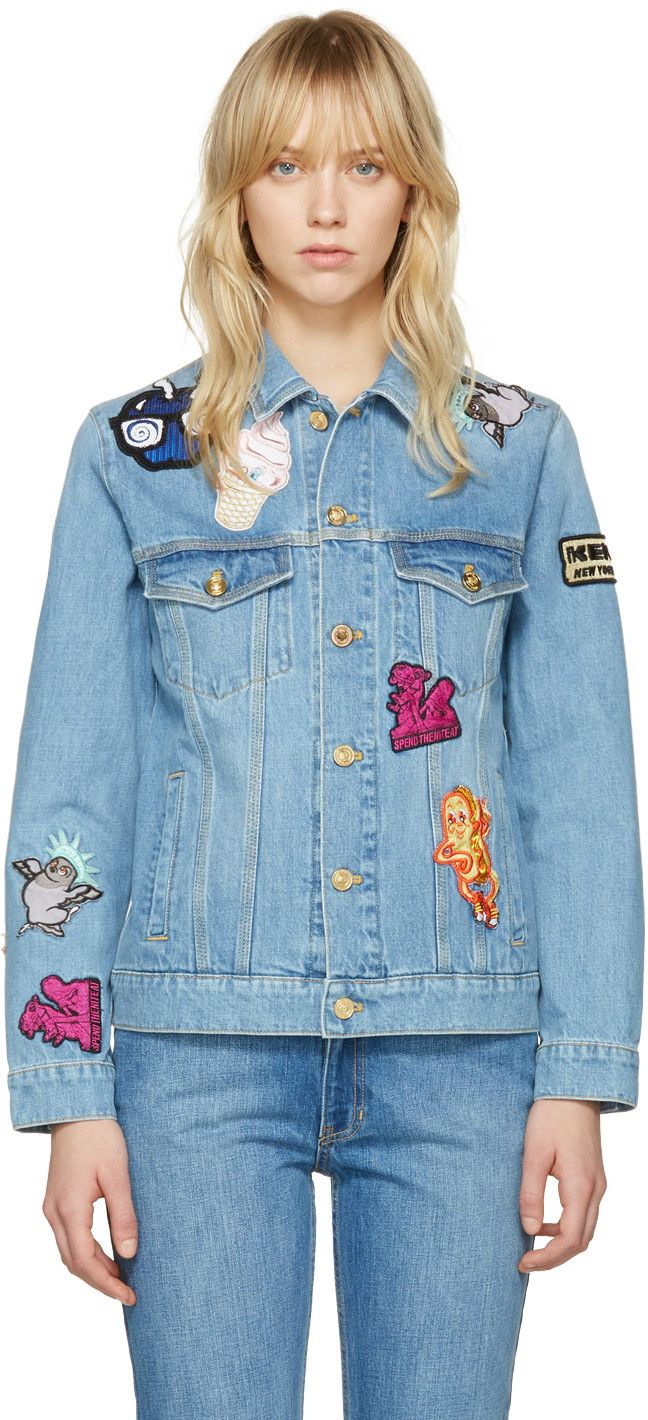 001e31ee KENZO Blue Denim Cartoon Patches Jacket. #kenzo #cloth #jacket ...