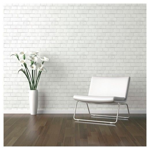 Textured Brick Peel Stick Wallpaper White Threshold Peel And Stick Wallpaper Faux Brick Walls Faux Brick Wallpaper