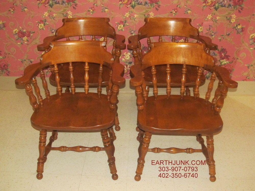 Ethan Allen Heirloom Maple Set Of 4 Tavern Chairs 10 6052