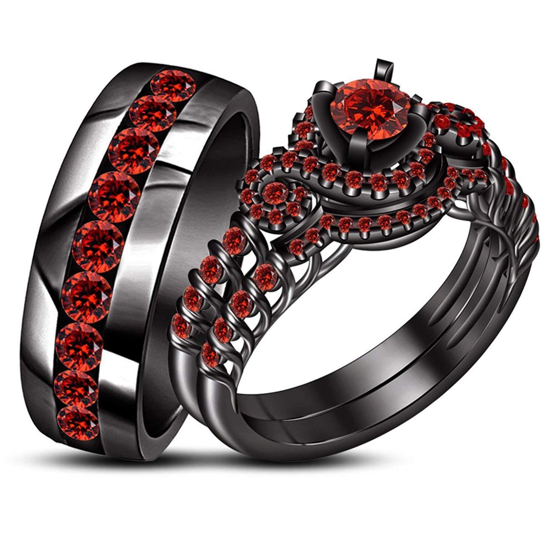 Tvs Jewels 925 Silver Black Rhodium Plated Ladies Bridal And Men S Wedding Band Ring Wonder Garnet Engagement Ring Black Gold Ring Rings Mens Wedding Bands