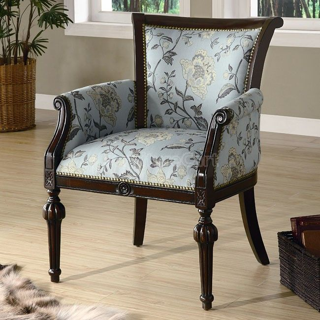 Elegant Exposed Wood Accent Chair Blue Accent Chairs Accent
