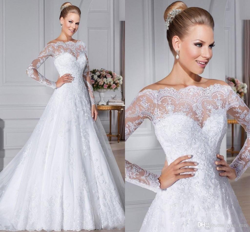 2016 Romantic A Line Wedding Dresses Princess Off the
