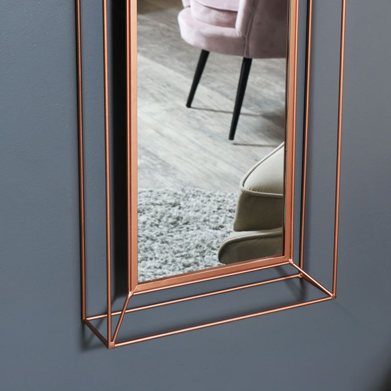 Large Copper Metal Framed Wall Mirror 38cm X 114cm Framed Mirror Wall Frames On Wall Home Decor Mirrors