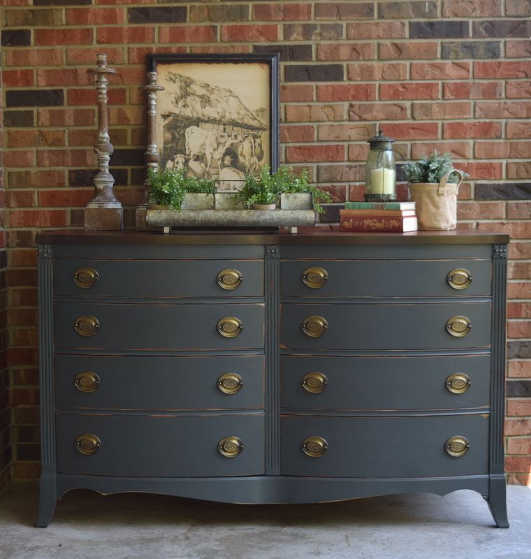 Buffet makeover in General Finishes Slate Gray chalk paint ...