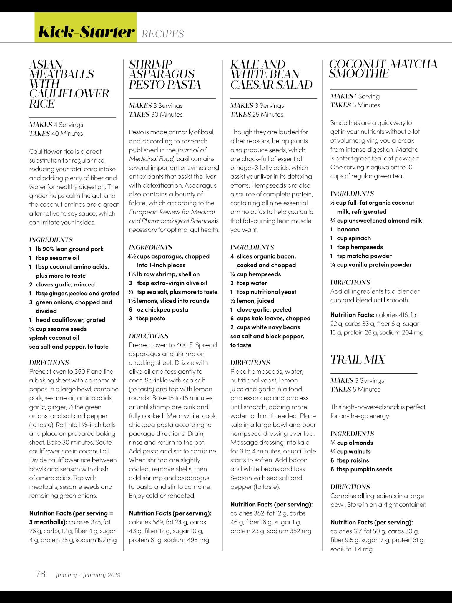 """""""The KickStarter Meal Plan"""" from Oxygen, Jan/Feb 2019"""