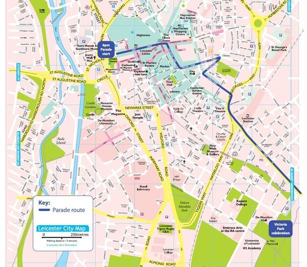 A map of the route Leicester Victory Parade Pinterest