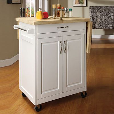 White Finish Kitchen Cart With Drop Leaf At Lots 41 Length