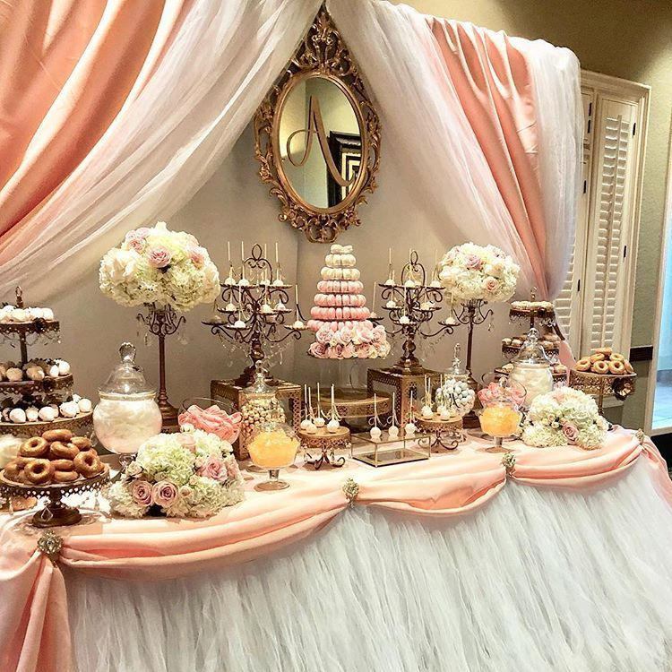 Quinceanera Candy Dessert Table By Bizziebeecreations Macarons By Leparadismac Wedding Candy Table Pink Dessert Tables Candy Bar Wedding