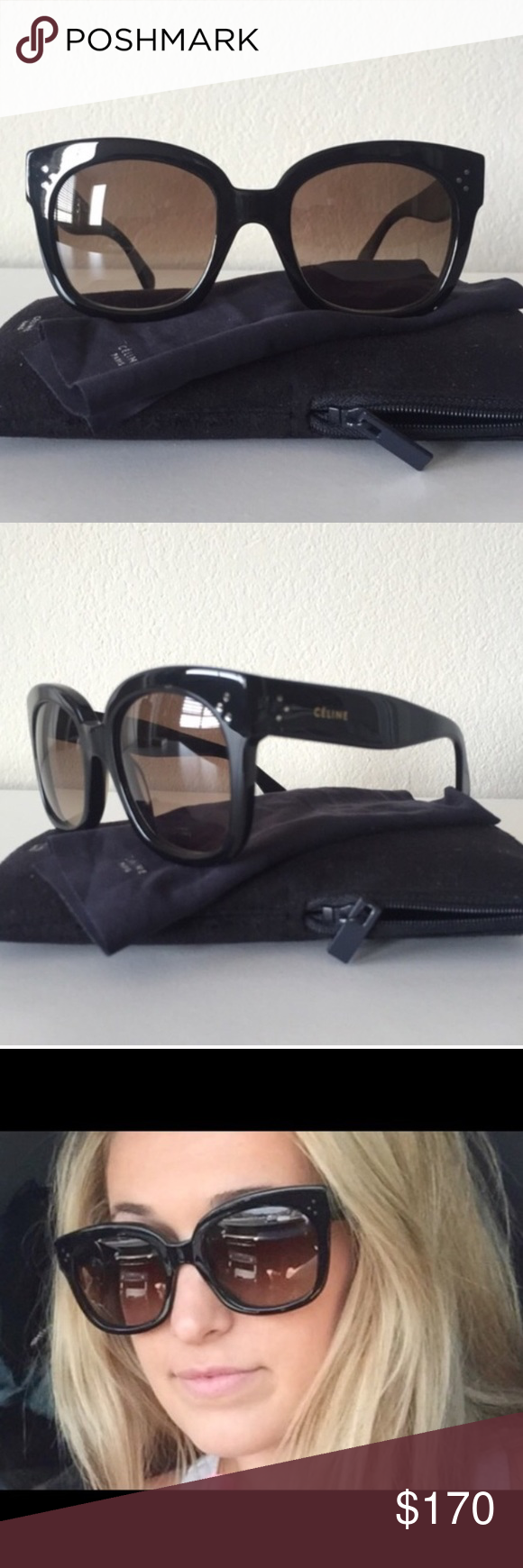edbc0006571 Céline New Audrey CL 41805 S 807HA Céline New Audrey CL 41805 S 807HA  sunglasses. Black frame with brown gradient lenses. Have only been worn  once