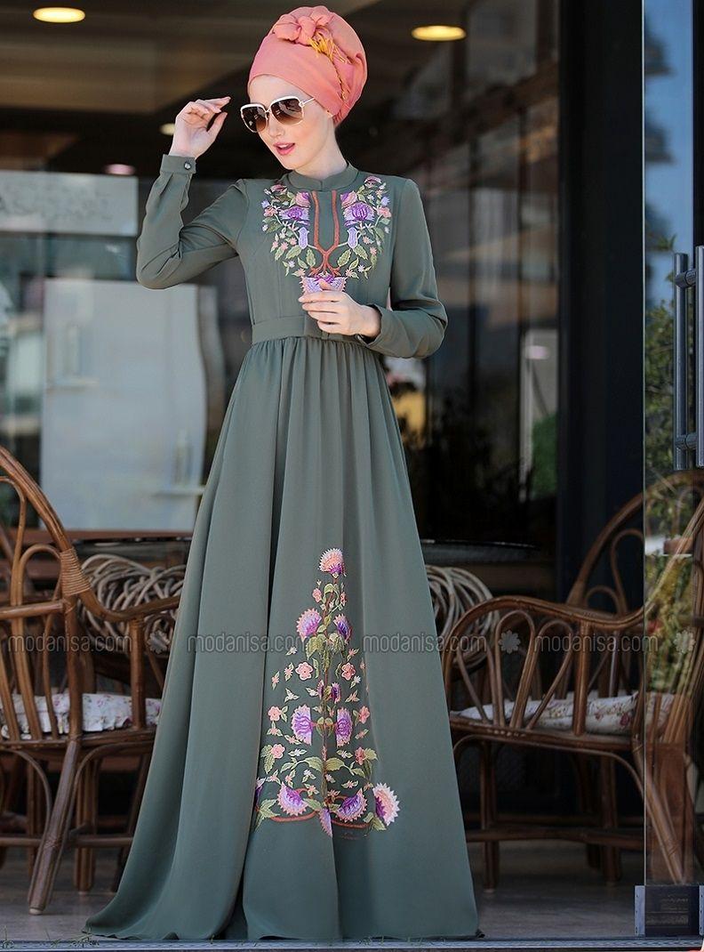 Cess Nakisli Elbise Haki Selma Sari Design Elbise Elbiseler The Dress
