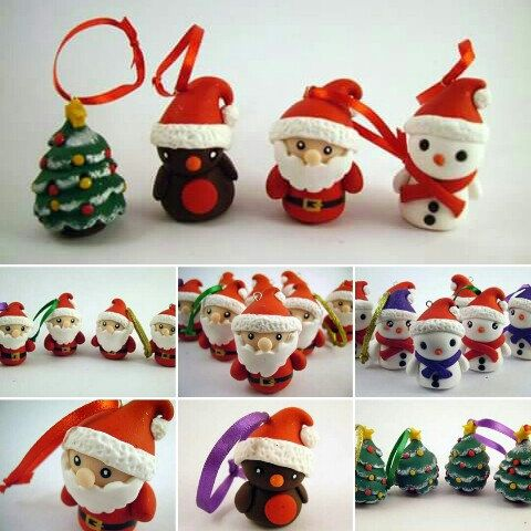 Polymer Clay Christmas Tree Decorations.Hand Sculpted Polymer Clay Cute Christmas Tree Decorations