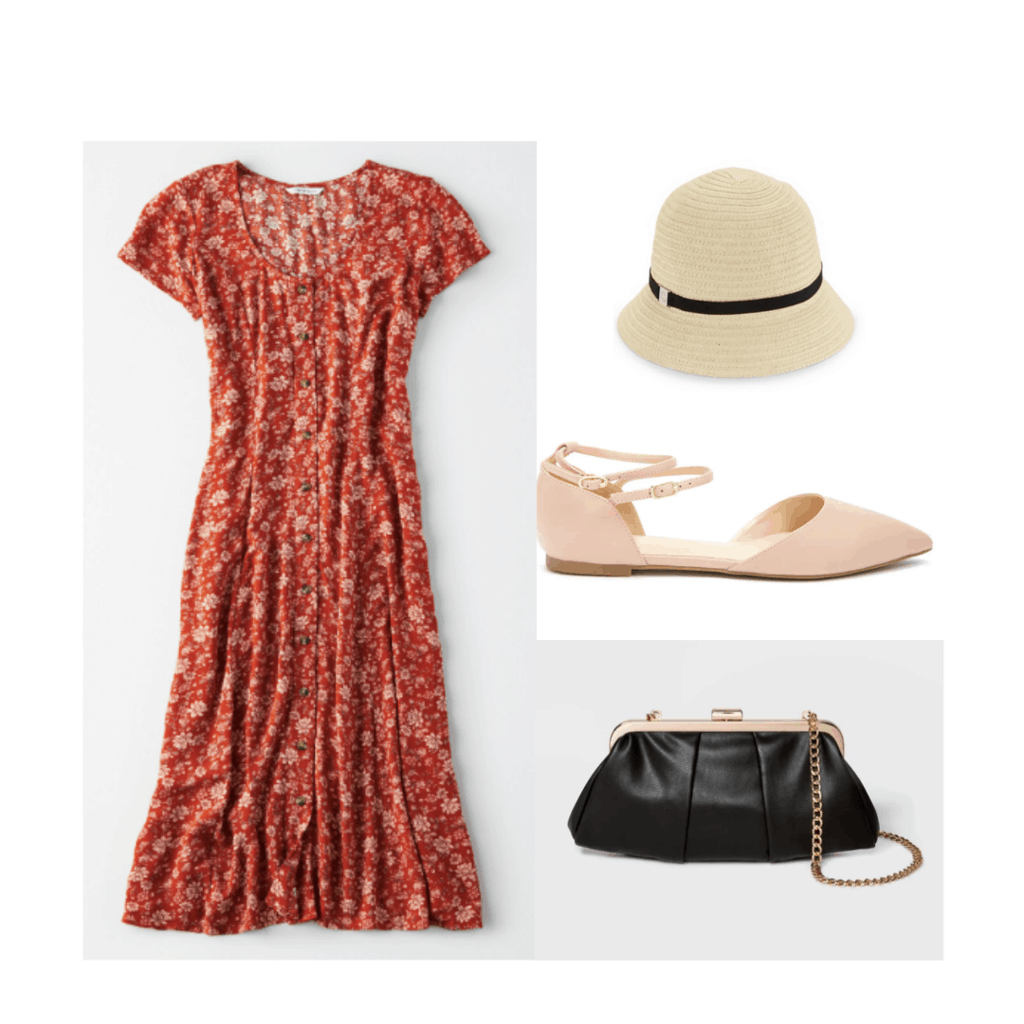 1920s Style Outfit With Button Front Dress Cloche Hat Ballet Flats Simple Purse 20s 1920s 20sfashion 20sstyle 1920s Fashion Women 1920s Fashion Fashion [ 1024 x 1024 Pixel ]