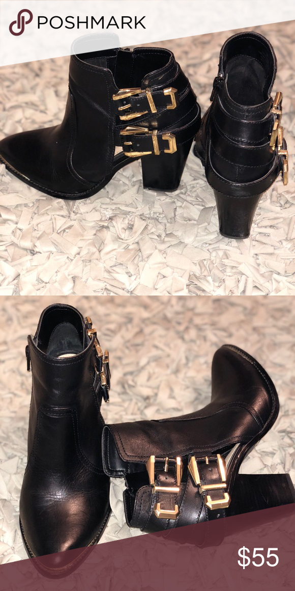 Black Ankle Booties Black Leather Booties With Gold Buckles And