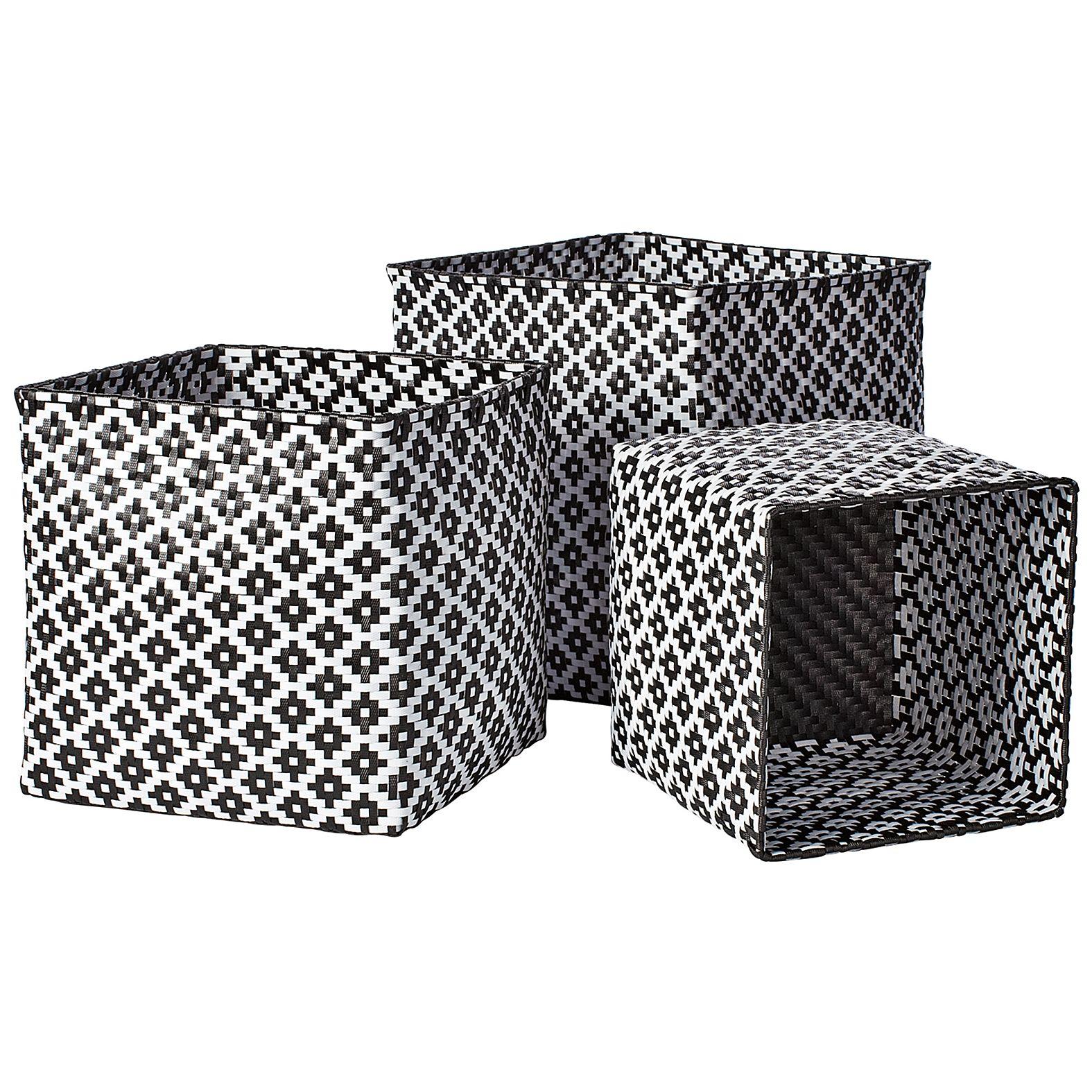 Black And White Storage Bins Bins Woven Baskets Storage