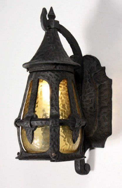 Splendid Antique Exterior Wall Mount Lantern With Original Amber Glass C1920s 275 On Goantiques Home Lig Outdoor Sconces Wall Mount Lantern Porch Lighting
