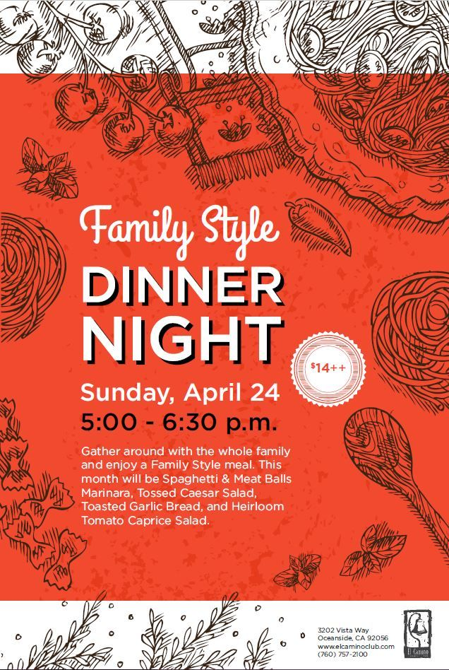Family Style Dinner food event flyer poster template Dinner Events