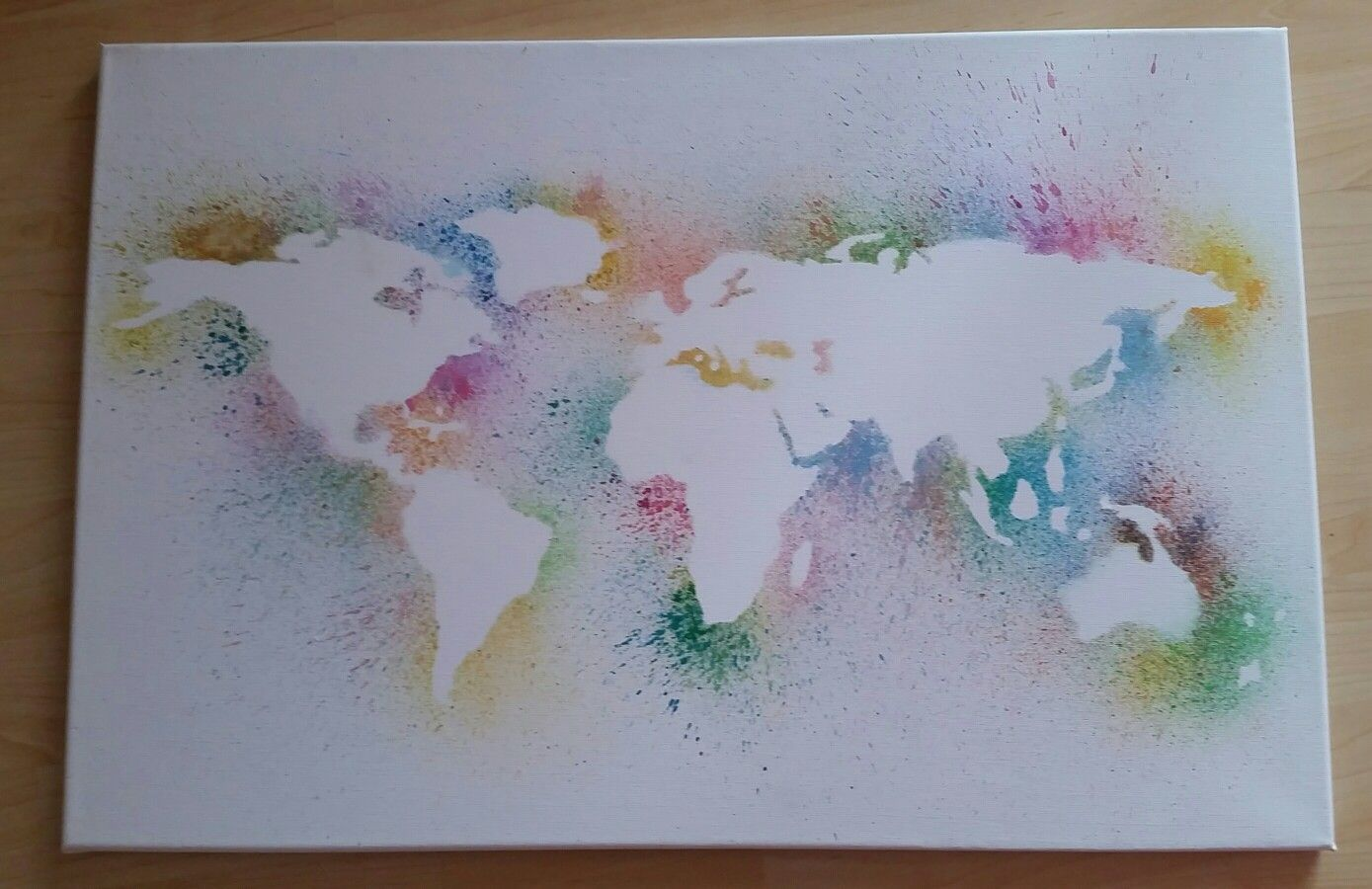 World Map On Canvas With Water Colors World Map On Canvas