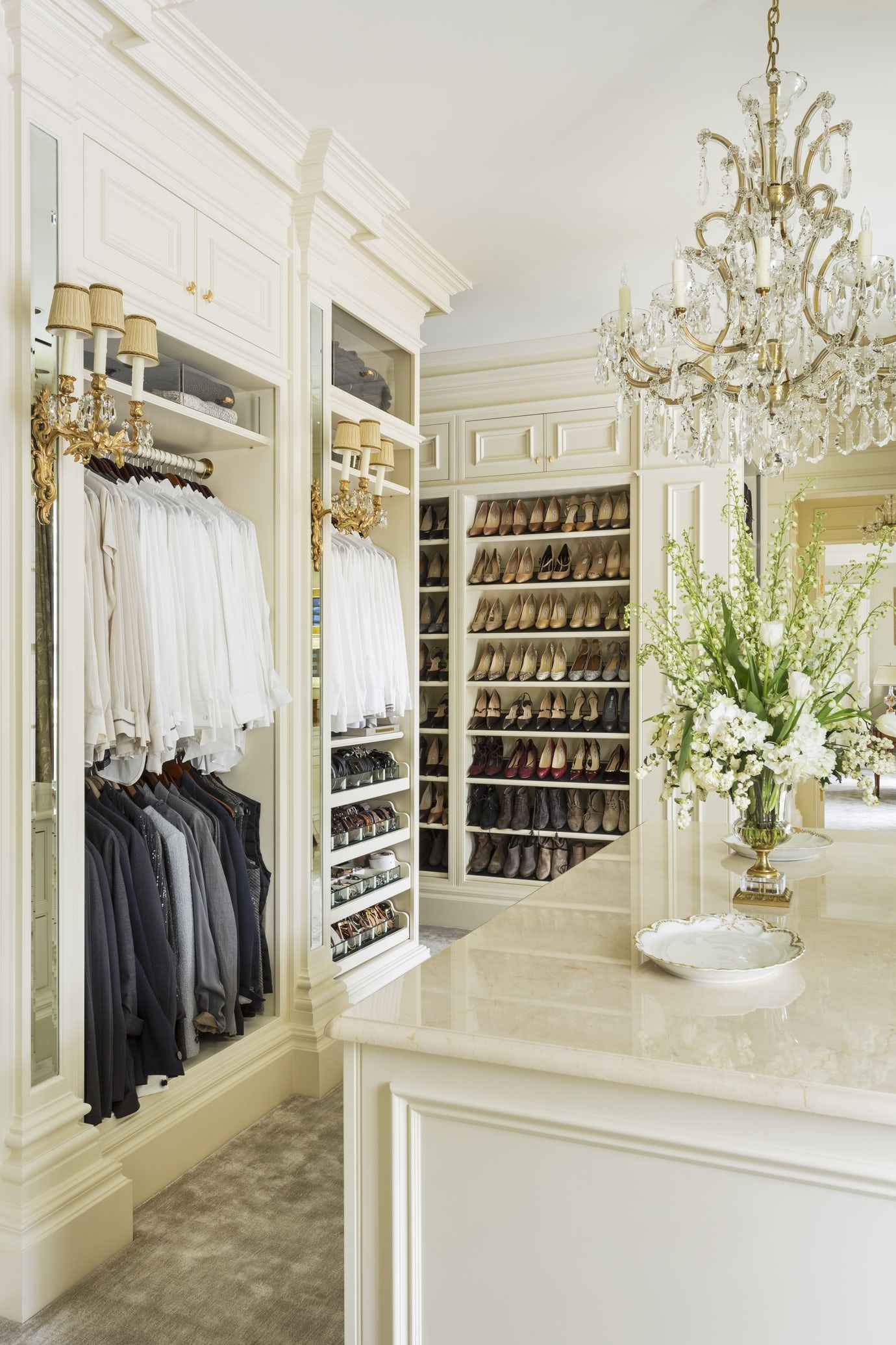 Luxury Cream Dressing Room With Leatherlined Shoe Shelves And