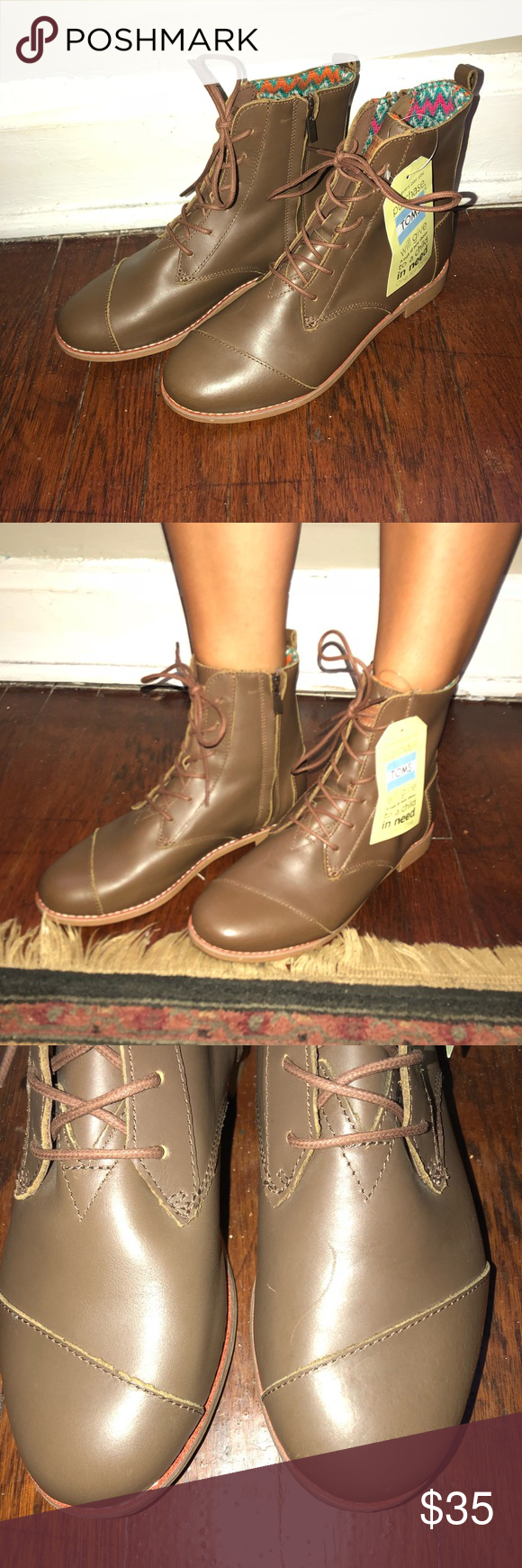 c668253273f Brand new brown toms lace-up combat boots Never worn! New with tags.