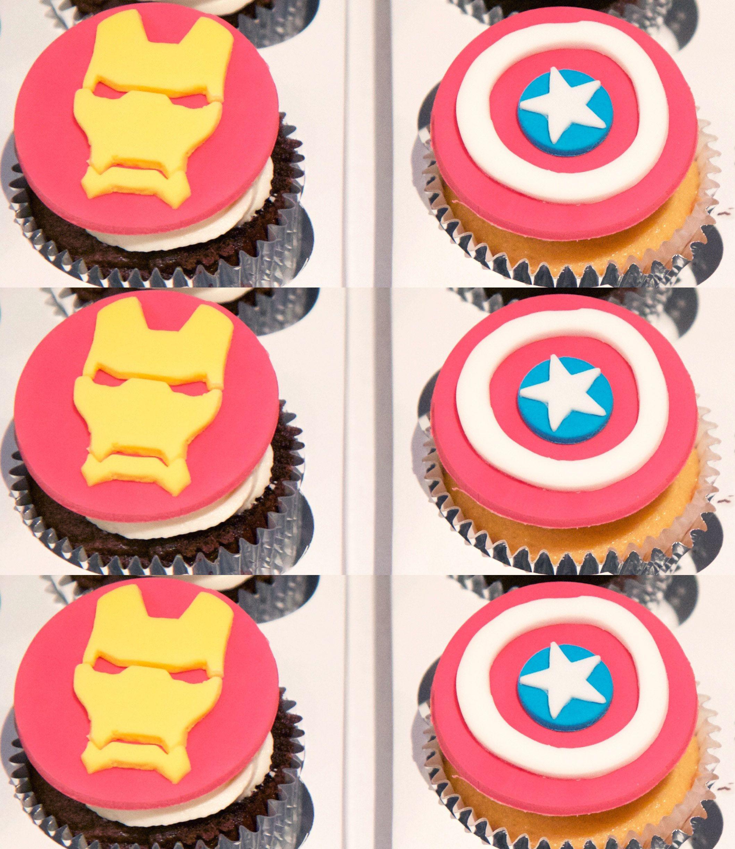 Captain America Civil War Iron Man Captain America cupcake topper
