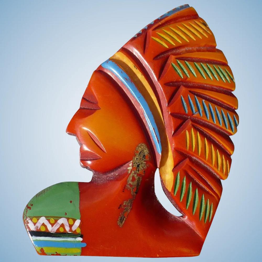 Bakelite Indian Head LooLuu's Ruby Lane (With images