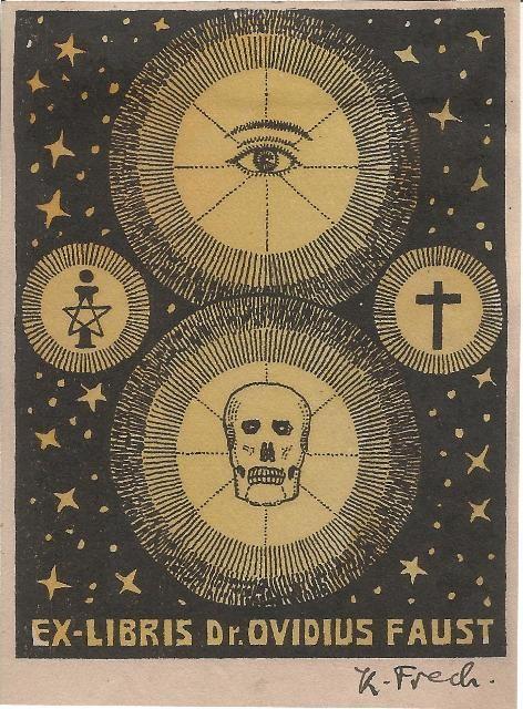 Ex Libris Dr. Ovidius Faust Vier leuchtende Kreise mit Auge, Pentagon, Kreuz und Schädel vor Sternenhimmel o.J. 95 x 73 mm, zweifarbiger Buc...
