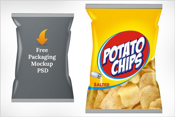 Download Free Potato Chips Packaging Mock Up Psd Template Chip Packaging Frozen Food Packaging Chips