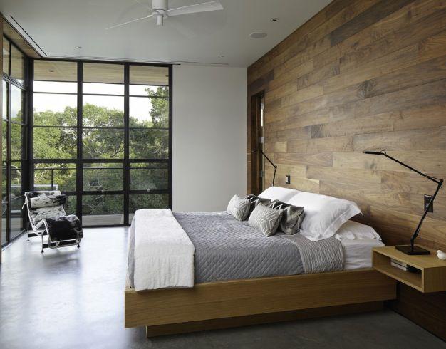Simple Modern Bedroom Mixed Material cedar, cement, metal - raumgestaltung schlafzimmer modern