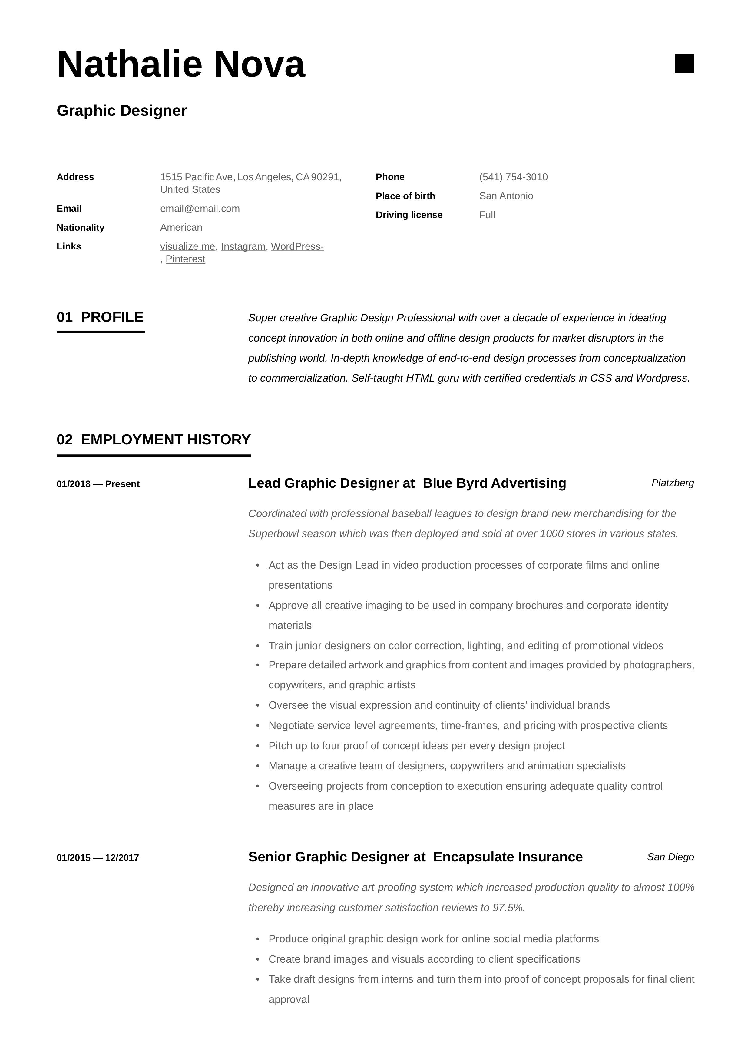 Graphic Designer Resume & Writing Guide in 2020 Home