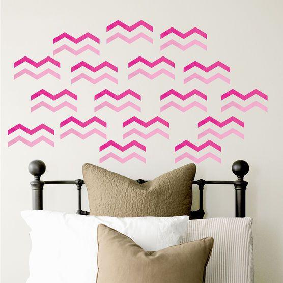 Dcwv home peel and stick vinyl wall art pink chevrons hi res