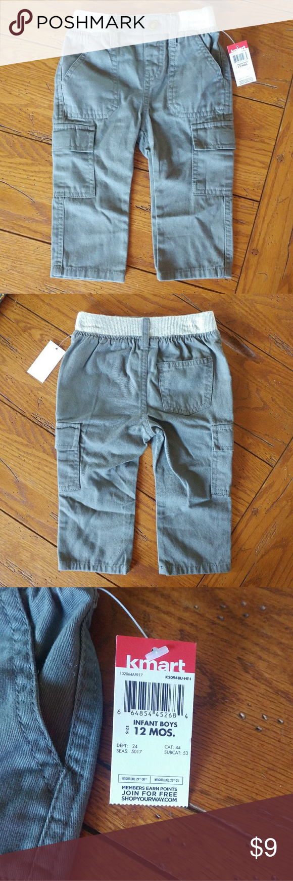 f2a46f284 NWT 12 Month Boys Gray Cargo Pants Kmart WonderKid NWT Kmart Wonder Kids  brand Gray Cargo Pants Boys 12 months Elastic in waistband Cargo pockets on  sides ...