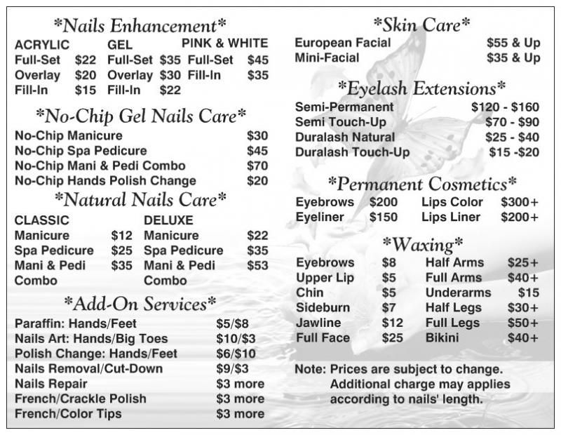 Us Nails Spa Price List Nail Salon Prices Spa Prices Salon Price List