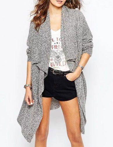 Stylish Mixed Stitch Waterfall Longline Cardigan Sweater with ...