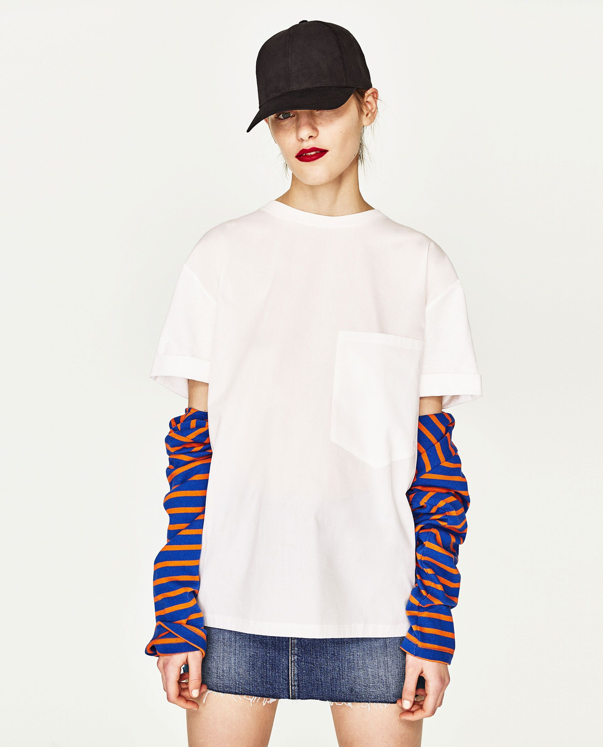 ZARA - WOMAN - ORGANIC COTTON CONTRAST T-SHIRT