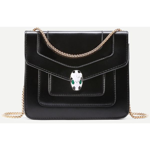 Snake Head Detail Crossbody Bag With Chain 25 Liked On Polyvore Featuring Bags Handbags Shoulder Purses Purse