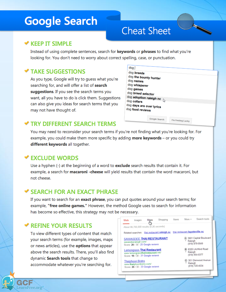 Search Better Google Search Tips Cheat Sheets Research Skills Education