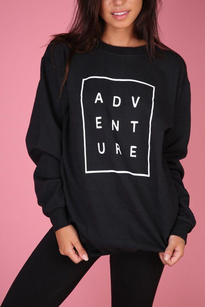 bd3c7f35c174 ADVENTURE Black Graphic Crewneck Sweatshirt in 2019