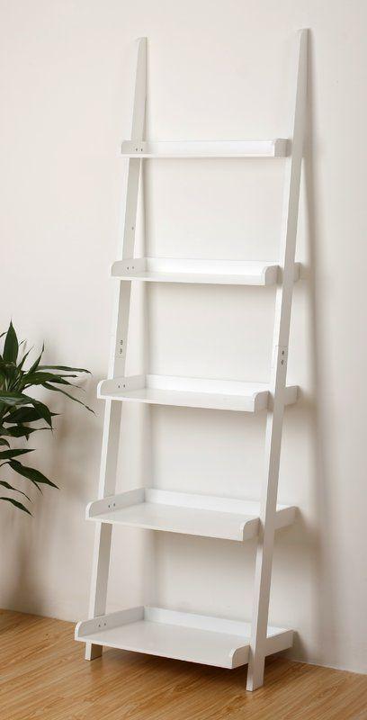 Ricardo Ladder Bookcase Leaning Wall Shelf Bookshelf White