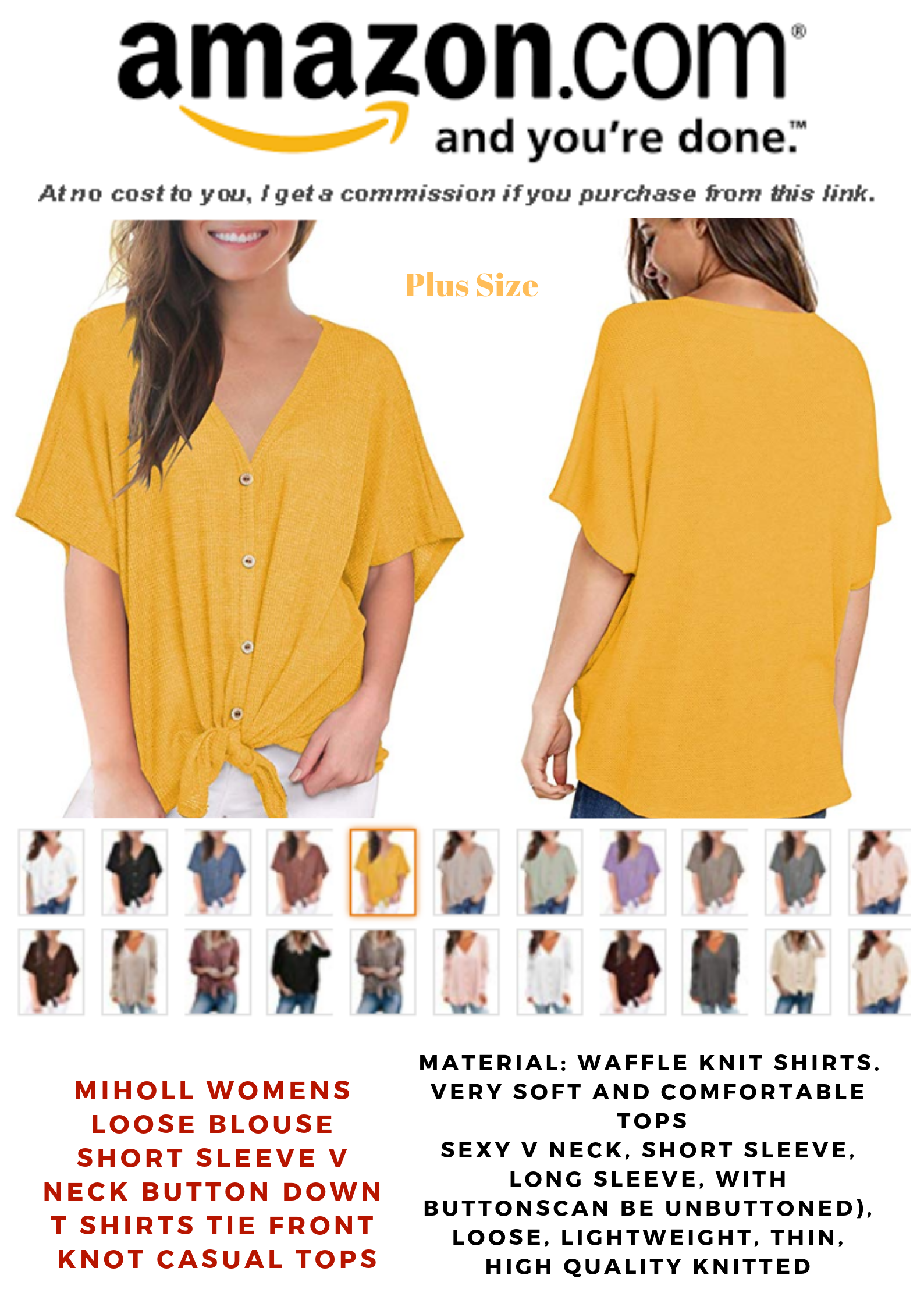 71cbad8a MIHOLL Womens Loose Blouse Short Sleeve V Neck Button Down T Shirts Tie  Front Knot Casual Tops | Plus Size Fashion in 2019 | Blouse, Fashion,  Casual tops