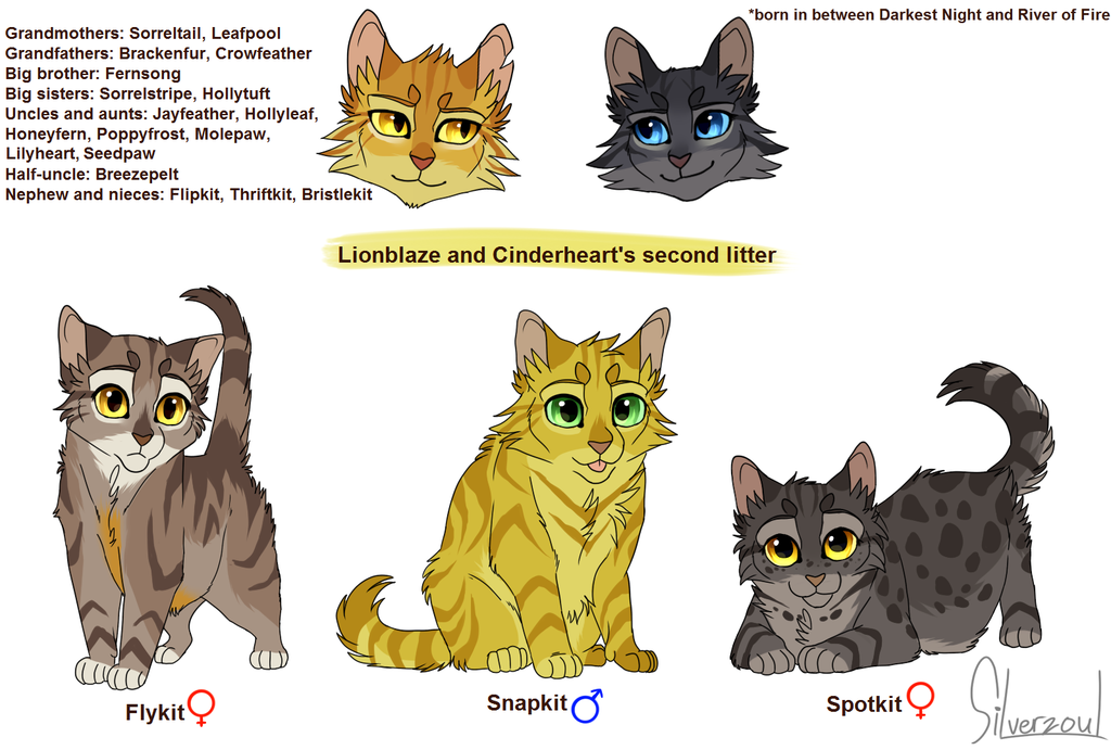 Lionblae And Cinderhert Kittens By Silverzoul Warrior