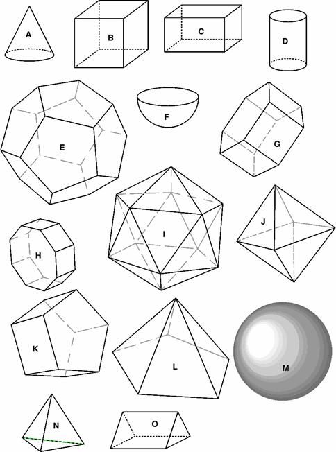 Drawing of prisms, pyramids and polyhedra to print for