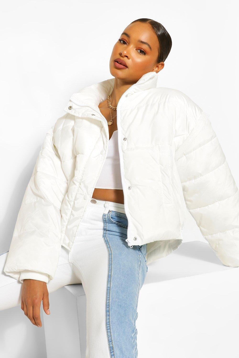 Funnel Neck Oversized Puffer Boohoo In 2021 White Jacket Outfit Puffy Jacket Outfit Bubble Jacket Outfit [ 1500 x 1000 Pixel ]