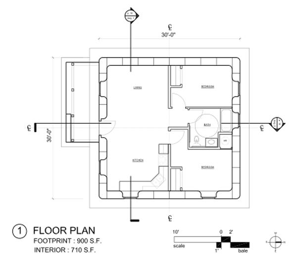 Free Open Source Strawbale House Design Natural Building Blog Floor Plans Small Floor Plans House Plans